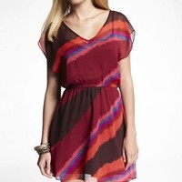 FLUTTER STRIPE ELASTIC WAIST DRESS at Express