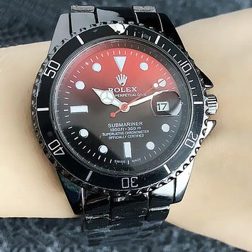 Rolex Trending Women Men Stylish Business Movement Watch Lovers Wristwatch Red/Black Dial I13212-1