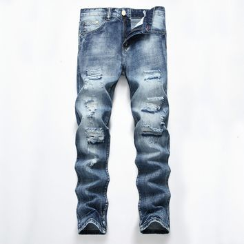 Ripped Holes Jeans Men's Fashion Cotton Denim Straight Jeans [127702302749]