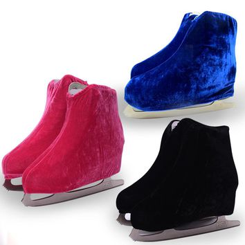 1 pair Ice Skating Figure Skating Shoes Velvet  Cover Roller Skate Anti Dirty Flannelette Elastic For Kids Adult  S M L 3 Colors