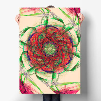 Good Vibes Cosmic Mandala Art Print - Sacred Geometry - Red and Green Indie Wall Art, Digital Download | Printable Boho Decor by Mila Tovar