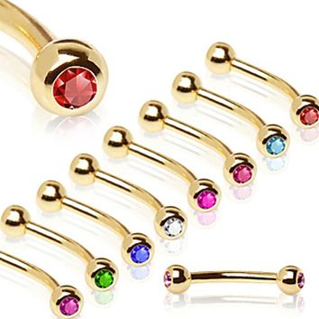 Gold Plated Over 316L Surgical Steel Eyebrow Ring with Gemmed Ball
