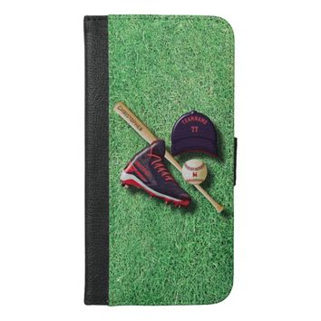 Baseball Shoe Bat Ball Hat With Name And Team Name iPhone 6/6s Plus Wallet Case