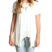 Off White Draped Ruffle Hem Top