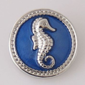 Seahorse Blue Metal Snap Charm 20mm-Simple Elegance Jewelry