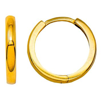 14k Yellow Gold Small Classic Huggie Hoop Earrings (2.1mm Thick), 14.3mm