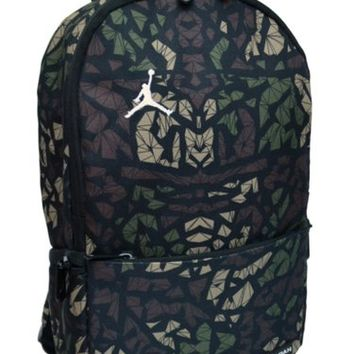74277f055b99 Nike Air Jordan Backpack Toddler Preschool Boy Black Green Small Camo Bag