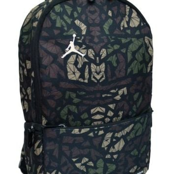 Nike Air Jordan Backpack Toddler Preschool Boy Black Green Small Camo Bag 5acfc9c8d5b41