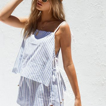 Emery Stripe Playsuit - Playsuits by Sabo Skirt