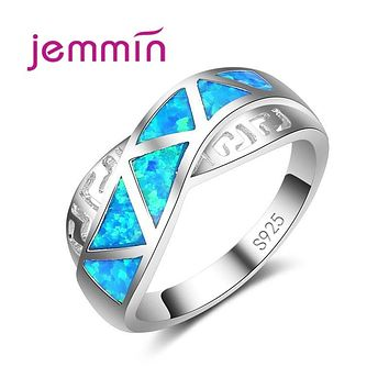 Jemmin Fashion Cross Ribbon Blue Fire Opal Ring Sliver Wedding Rings For Men And Women Fine Jewelry Gifts