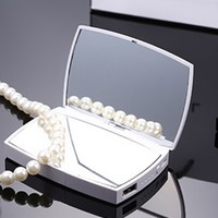 White Black CC Inspired Mirror Compact Portable Power Bank Phone Charger
