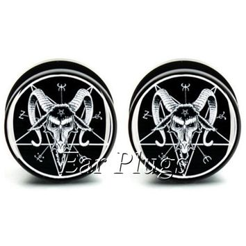 1 pair  Baphomet ear plug gauges black acrylic screw fit ear plug flesh tunnel body piercing jewelry PSP0545