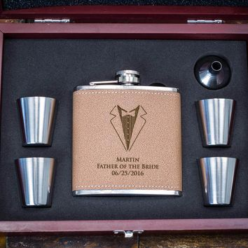 Personalized Flask Gift Set - Custom Engraved Flask Set - Great Gift Idea for Dad - Tan Faux Leather Wrapped, 6pc Set