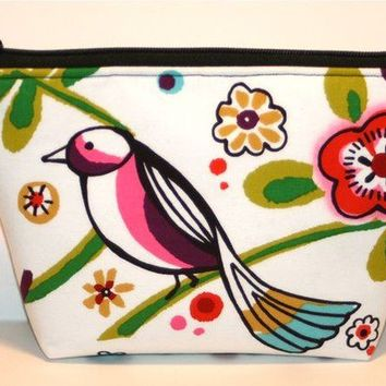 Larkspur Birds 2 Padded Flat bottomed Cosmetic Bag/Zippered Pouch