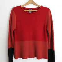 Vintage 90s Color Block Cotton Sweater // Women's Soft Comfy Fall Sweater