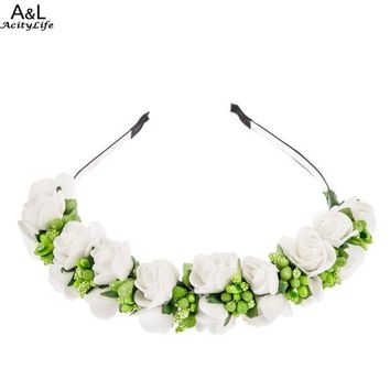 ONETOW New Flower Garland Floral Bride Headband Hairband Wedding Party Prom Festival Decor Princess Floral Wreath Headpiece 67