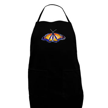 TooLoud Watercolor Monarch Butterfly Dark Adult Apron