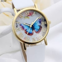 Top Selling Leather Strap Band Rose Gold Plated Butterfly Pattern Fashion Women Watches = 1956415620