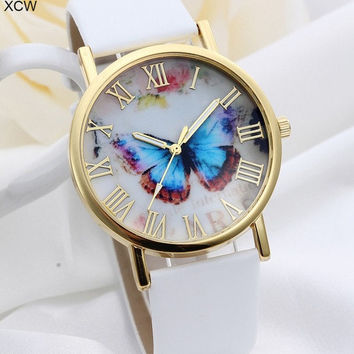 Top Selling Leather Strap Band Rose Gold Plated Butterfly Pattern Fashion Women Watches (With Thanksgiving&Christmas Gift Box)= 1956415620
