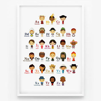 Alphabet A-Z Children Of The World With Their National Costume 8x10 Wall Art Poster