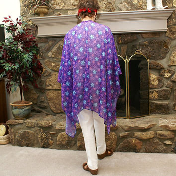 Sheer Purple Flower Design Shawl, Wrap, Coverup or Ruana--One Size Fits Most Gypsies