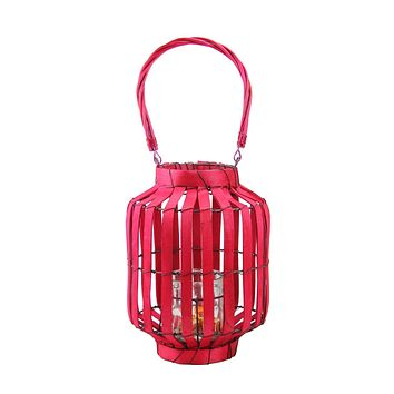 "20"" Tropicalia Blush Red Cabana Tiki Bar Votive Candle Holder Lantern"