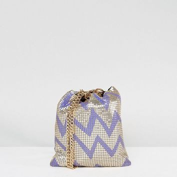 ASOS Zig Zag Chainmail Pouch Clutch Bag at asos.com