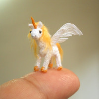 Unicorn Winged, Pegasus - Micro Dollhouse Miniature Crochet Tiny Stuff Animal - Made To Order