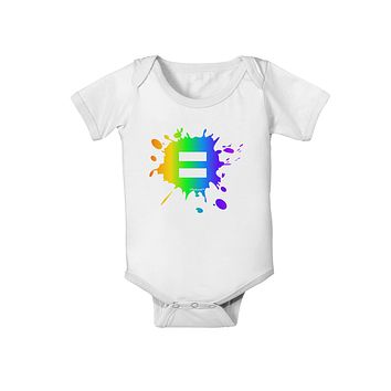 Equal Rainbow Paint Splatter Baby Romper Bodysuit by TooLoud