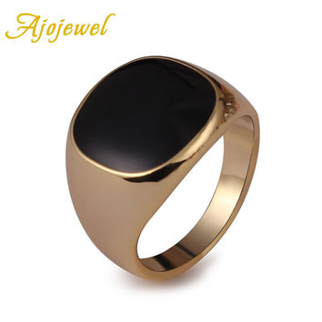 Ajojewel SIZE 6.5-13 Classic Gold-color Men Ring Black Enamel Painting Jewelry Fashion Anel