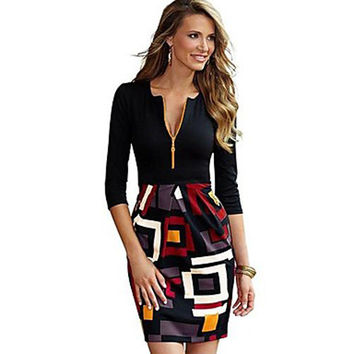 Women's Vintage/Sheath Deep V ¾ Sleeve Zipper Geometric Black Dress