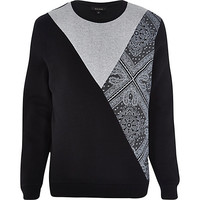 River Island MensBlack bandana cut and sew sweatshirt