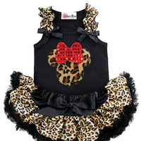 Baby Halloween Costume -Infant Pettiskirt Set Wild Child Cheetah Minnie Petti Skirt Set -Cute Baby  Tutu Set - Baby Shower Gifts -