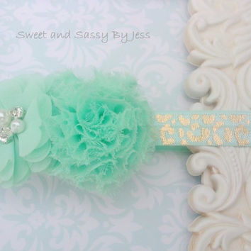 Mint Green flower hairclip with removable metalic cheatah print elastic headband, Ballet recital, newborn photo, photo prop, Baby girl gift