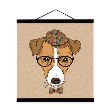 Dog Head Gentleman Animal Portrait Hipster A4 Wooden Framed Canvas Painting Wall Art Print Picture Poster Scroll Room Home Decor
