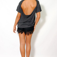 (amd) Low flowy back round neck boxy charcoal blouse