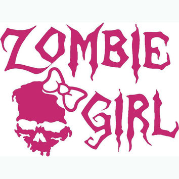 Pegatinas Pared Zombie Girl Skull Wall Stickers Home Decor Carton Girls Wear Knot Wallpaper For Cars Motorcycle And Window