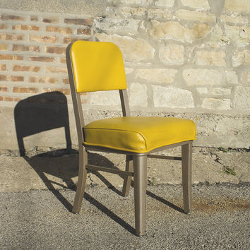 Amazing Yellow Steelcase mid century side chair