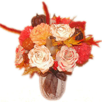 Fall Centerpiece, Fall Wedding Decoration, Silk flowers, Fake flower decor, Fall home decor, paper roses, filter flowers, floral arrangement