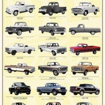 Ford Truck Evolution 1955 56 F150 24x36 Poster