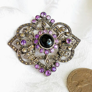 Vintage Amethyst Marcasite Sterling Silver Pin Pendant, Purple Silver Marcasite Brooch, Art Deco Amethyst Brooch, Costume Jewelry Necklace