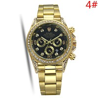 Rolex Fashion New Metal Watchband Diamond Round Shell Women Men Watch Wristwatch