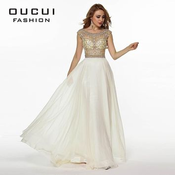 Real Photo Nude Color Tulle Chiffon Fabric See Through Beading Handwork Long Prom Dress OL102363