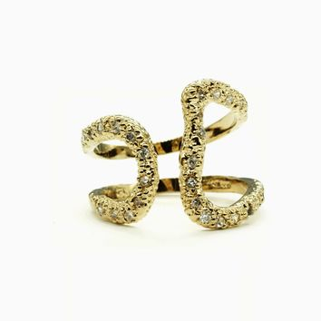 Openwork Wrap Gold Tone Fashion Ring with Clear Cubic Zirconia Stones