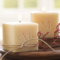 Monogrammable Cube Candle | Pottery Barn
