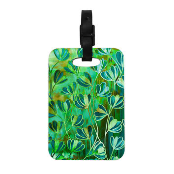 "Ebi Emporium ""Effloresence - Blue Green"" Teal Green Decorative Luggage Tag"