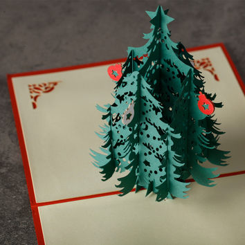 1 pc HOMESTIA 3D Merry Christmas Green Tree Card Handmade Paper Folding Laser Cut Greeting Cards Postcard Thanksgiving Gifts