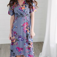 Demi True Wrap Midnight Floral Maxi Dress