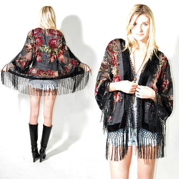 Sheer Silk Burnout Velvet Fringe Hippie Boho Gypsy Beads Festival Kimono Jacket