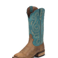 "Justin Women's 11"" Tiger Tan Buffalo Boot - Tan / Blue"